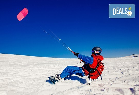 Екстремно зимно забавление! Сноукайт приключение за двама - за начинаещи или среднонапреднали, с включена екипировка - Снимка 1