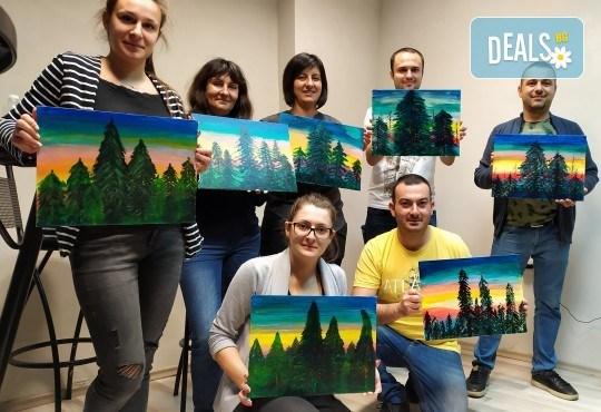 """""""Зимна нощ""""! 3 часа рисуване с вино на 6-ти февруари (четвъртък) от 19 часа - рисуване на картина + чаша вино под инструкциите на професионален художник в Пух арт студио - Снимка 6"""