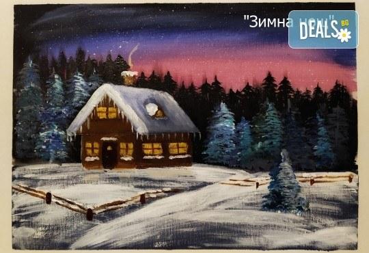 Рисуване и вино! 3 часа рисуване на картина с акрил през февруари + чаша вино в Пух арт студио - Снимка 16