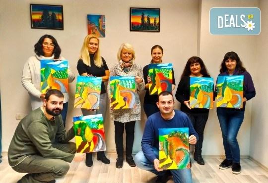 Рисуване и вино! 3 часа рисуване на картина с акрил през февруари + чаша вино в Пух арт студио - Снимка 3