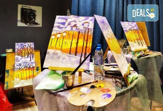 Рисуване и вино! 3 часа рисуване на картина с акрил през февруари + чаша вино в Пух арт студио - Снимка 1