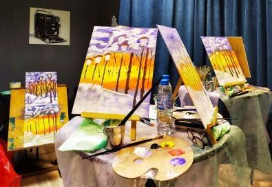 Рисуване и вино! 3 часа рисуване на картина с акрил през февруари + чаша вино в Пух арт студио - Снимка