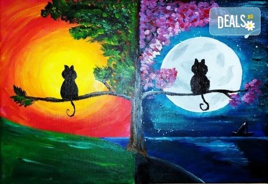 Серия картини Пълнолуние и На слънце! Рисуване на една или две картини /серия/ + чаша вино в творческа среда и много приятели в Пух арт студио - Снимка 1