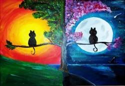 Серия картини Пълнолуние и На слънце! Рисуване на една или две картини /серия/ + чаша вино в творческа среда и много приятели в Пух арт студио - Снимка