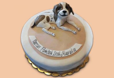 С доставка през март и април! За домашен любимец: торта за Рожден ден на Вашия домашен приятел: куче, котка, рибка или др. с тематична декорация от Сладкарница Джорджо Джани - Снимка