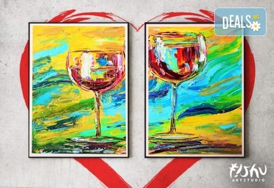 Арт вечер, вино и приятели! Рисуване с акрил на картина по избор с напътствията на професионален художник и чаша вино от Fishu.Art - Снимка 3