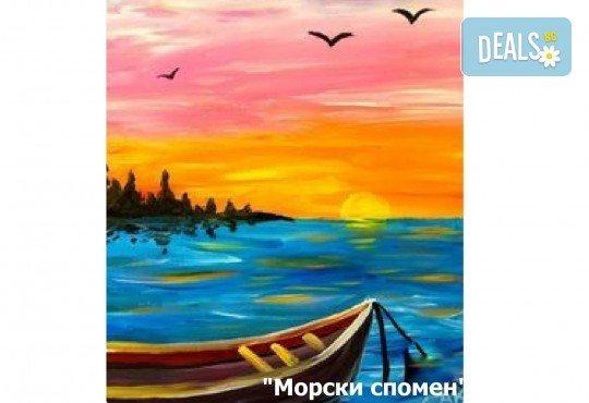 В цветовете на любовта! Рисуване и вино: картина с акрил, метод стъпка по стъпка + чаша вино в Пух арт студио - Снимка 4