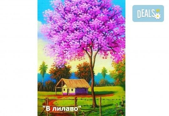 В цветовете на любовта! Рисуване и вино: картина с акрил, метод стъпка по стъпка + чаша вино в Пух арт студио - Снимка 3