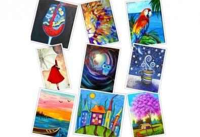 В цветовете на любовта! Рисуване и вино: картина с акрил, метод стъпка по стъпка + чаша вино в Пух арт студио - Снимка