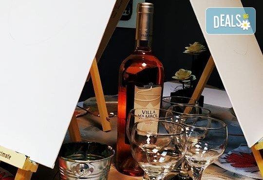 В цветовете на любовта! Рисуване и вино: картина с акрил, метод стъпка по стъпка + чаша вино в Пух арт студио - Снимка 13