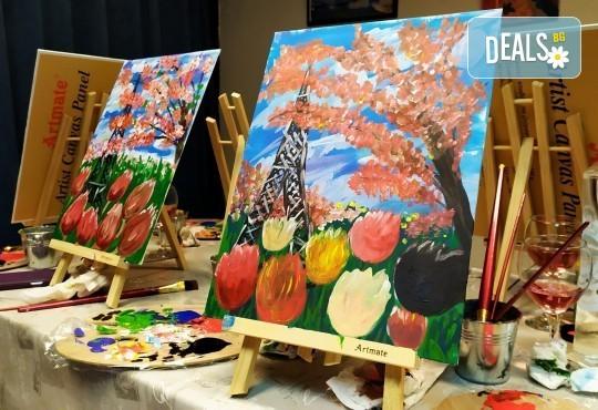 В цветовете на любовта! Рисуване и вино: картина с акрил, метод стъпка по стъпка + чаша вино в Пух арт студио - Снимка 8