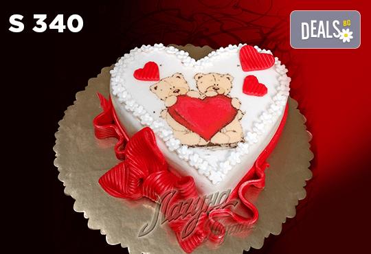 """Подарете уникална бутикова торта """"Романтично сърце"""" на любимия човек в цвят и вкус по желание, от сладкарница Лагуна! - Снимка 1"""