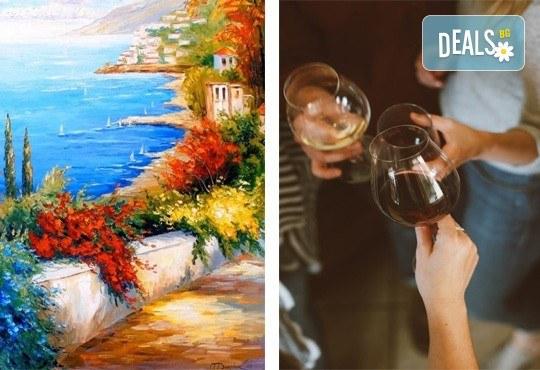 3 часа рисуване на Синева на 08.03. с напътствията на професионален художник, чаша вино и вода в Арт ателие Багри и вино - Снимка 1