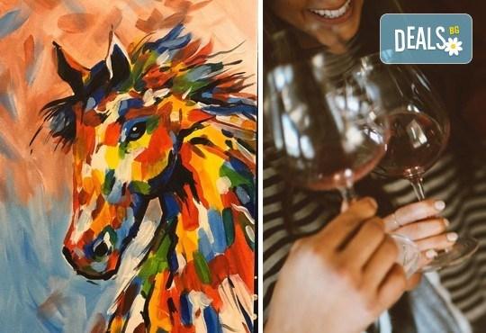 3 часа рисуване на Вихър на 15.03. с напътствията на професионален художник, чаша вино и вода в Арт ателие Багри и вино - Снимка 1