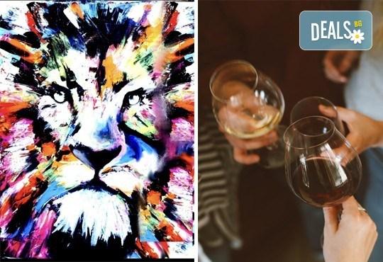 3 часа рисуване на Цветният лъв на 29.03. с напътствията на професионален художник, чаша вино и вода в Арт ателие Багри и вино - Снимка 1