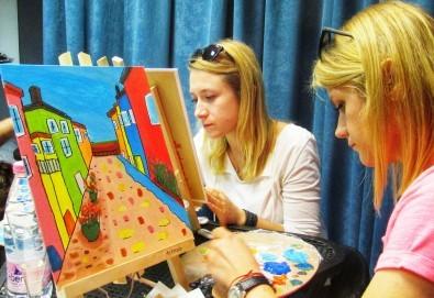 Рисуване и вино! 3 часа рисуване на картина с акрил през м. март + чаша вино в Пух арт студио