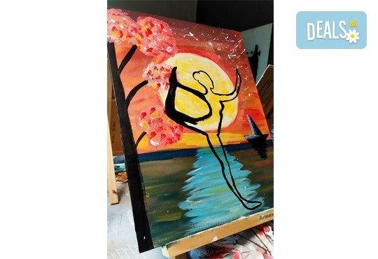 Рисуване и вино! 3 часа рисуване на картина с акрил през м. март + чаша вино в Пух арт студио - Снимка 27