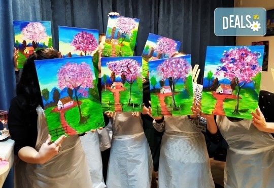 Рисуване и вино! 3 часа рисуване на картина с акрил през м. март + чаша вино в Пух арт студио - Снимка 18