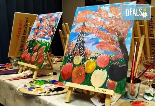Рисуване и вино! 3 часа рисуване на картина с акрил през м. март + чаша вино в Пух арт студио - Снимка 19