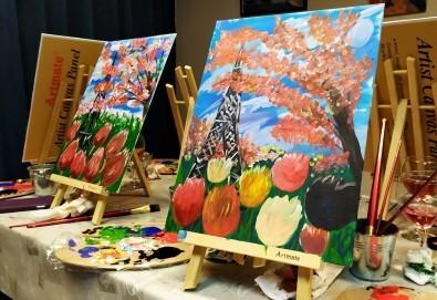 Рисуване и вино! 3 часа рисуване на картина с акрил през м. март + чаша вино в Пух арт студио - Снимка