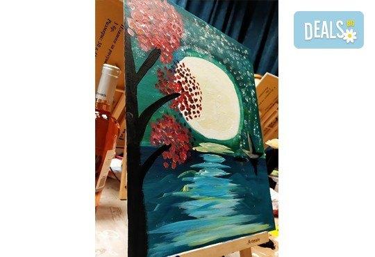 В цветовете на пролетта! Рисуване и вино: картина с акрил, метод стъпка по стъпка + чаша вино в Пух арт студио - Снимка 15