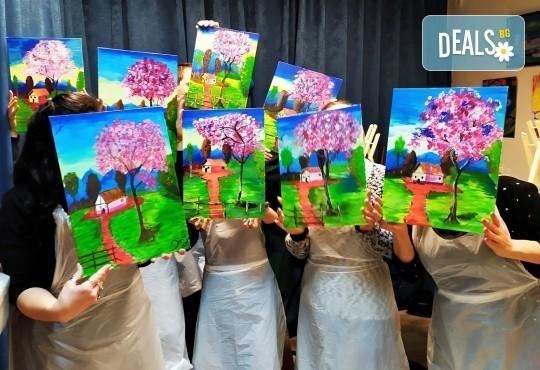 В цветовете на пролетта! Рисуване и вино: картина с акрил, метод стъпка по стъпка + чаша вино в Пух арт студио - Снимка 2