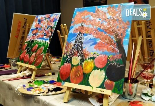 В цветовете на пролетта! Рисуване и вино: картина с акрил, метод стъпка по стъпка + чаша вино в Пух арт студио - Снимка 12