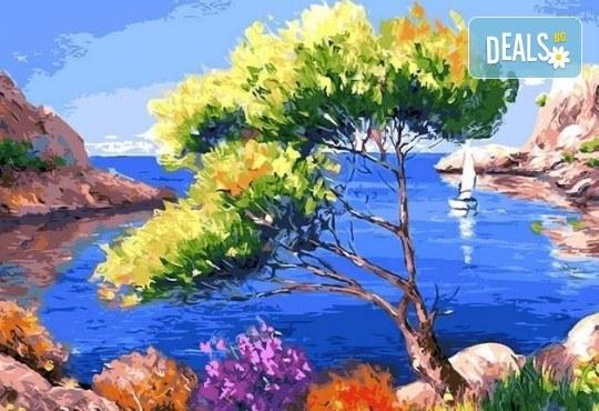 3 часа рисуване на Лазурен бряг на 29.03. с напътствията на професионален художник, чаша вино и вода в Арт ателие Багри и вино - Снимка 1