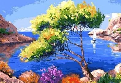 3 часа рисуване на Лазурен бряг на 29.03. с напътствията на професионален художник, чаша вино и вода в Арт ателие Багри и вино - Снимка