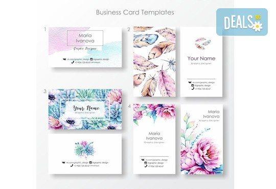 100, 250 или 500 пълноцветни двустранни визитки, изработени от 300 г картон, от New Wave Consult - Снимка 2