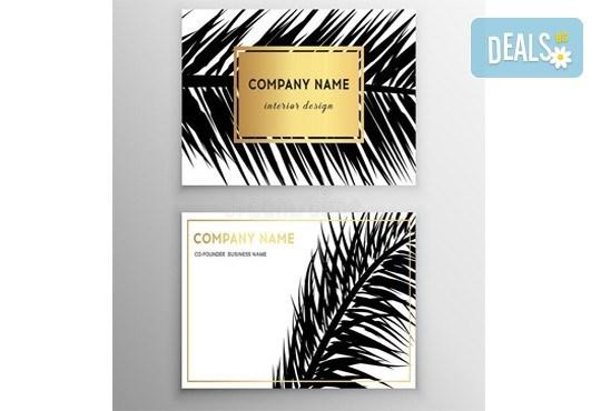 100, 250 или 500 пълноцветни двустранни визитки, изработени от 300 г картон, от New Wave Consult - Снимка 3