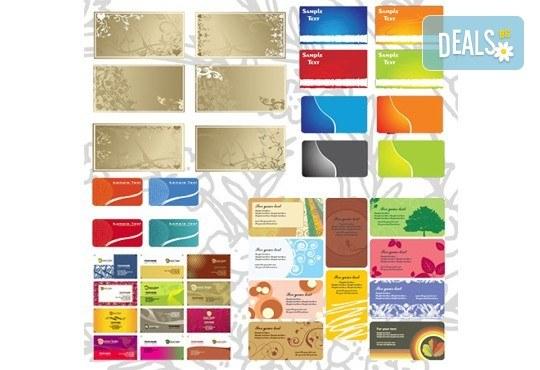 100, 250 или 500 пълноцветни двустранни визитки, изработени от 300 г картон, от New Wave Consult - Снимка 4