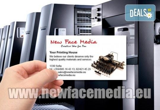 1000 пълноцветни двустранни лукс визитки! Висококачествен печат върху 340 г картон от New Face Media - Снимка 6