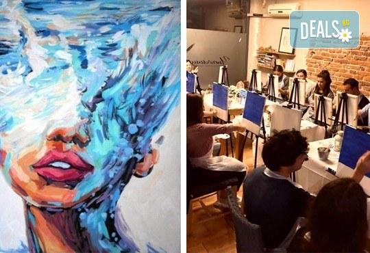 Рисуване и вино! 3 часа рисуване на тема Морска богиня на 03.04. + чаша вино и минерална вода в Арт ателие Багри и вино - Снимка 1