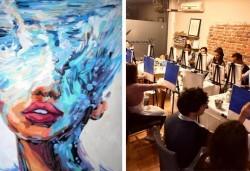 Рисуване и вино! 3 часа рисуване на тема Морска богиня на 03.04. + чаша вино и минерална вода в Арт ателие Багри и вино - Снимка