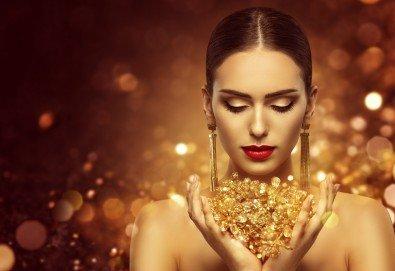 60-минутна аnti-age терапия за лице със злато и фитохормони в салон за красота Селина - Снимка