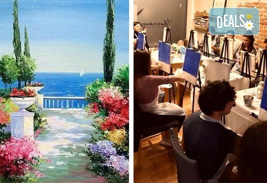 """3 часа рисуване на """"Морска тераса"""" на 12.04. + чаша вино и вода в Арт ателие Багри и вино"""