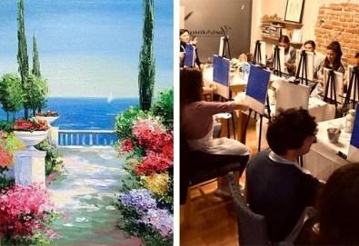3 часа рисуване на тема Морска тераса на 12.04. от 17ч. с напътствията на професионален художник + чаша вино и минерална вода в Арт ателие Багри и вино - Снимка