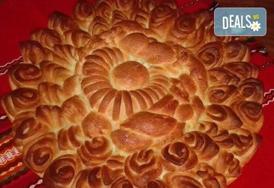 1 или 2 кг. погача, или както нашите баби я наричат - пита, обреден хляб с орнаменти от Работилница за вкусотии Рави + включена доставка - Снимка 2