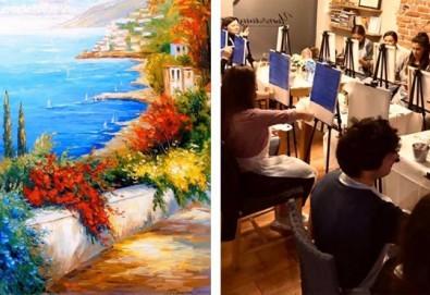 3 часа рисуване на Синева на 24.04. с напътствията на професионален художник, чаша вино и вода в Арт ателие Багри и вино - Снимка