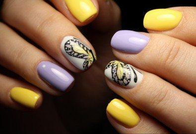 Пролетни цветове! Класически или френски маникюр с гел лак Bluesky и 2 декорации в салон за красота Diva - Снимка