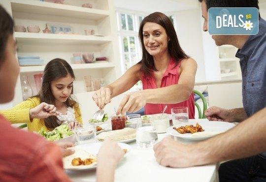 Семейно меню за 4 човека със супа, основно и десерт от работилница
