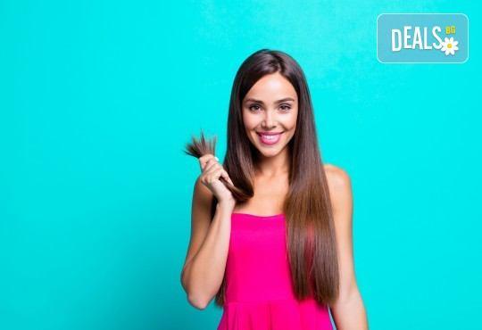 Красива коса през пролетта! Подхранваща терапия, подстригване и оформяне на прав сешоар в салон за красота Хармония - Снимка 1