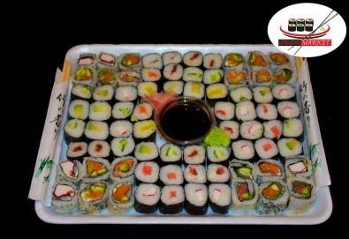 Вземете 80 вкусни суши хапки с пушена сьомга, филаделфия и скариди с възможност за доставка от Sushi Market! - Снимка