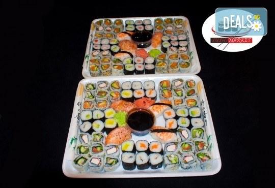Вкусно и изгодно! 120 суши хапки с пушена сьомга, филаделфия и скариди от Sushi Market - Снимка 1