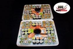 Вкусно и изгодно! 120 суши хапки с пушена сьомга, филаделфия и скариди от Sushi Market - Снимка