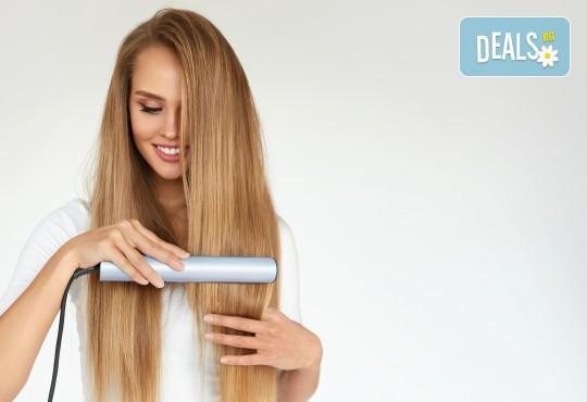 Полиране на коса - премахване на цъфтежите без отнемане на дължината, масажно измиване, ламиниране за дълготраен блясък и здравина, прическа със сешоар + йонизираща или кератинова преса в салон Madonna - Снимка 4