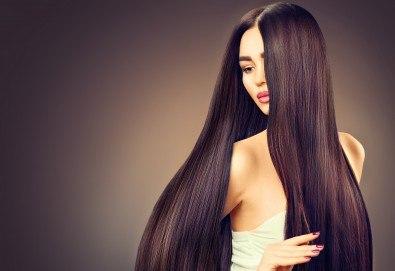 Полиране на коса - премахване на цъфтежите без отнемане на дължината, масажно измиване, ламиниране за дълготраен блясък и здравина, прическа със сешоар + йонизираща или кератинова преса в салон Madonna - Снимка