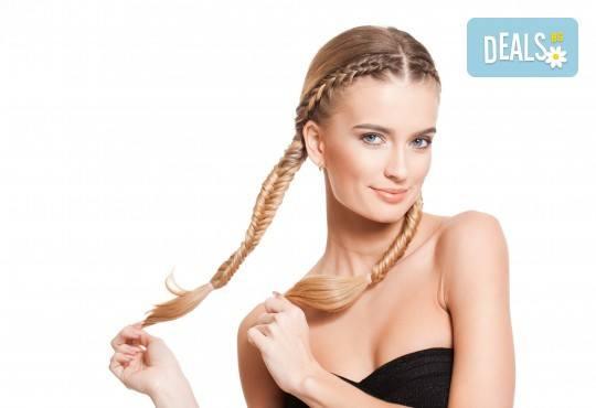 Терапия според типа коса - арганова, кератинова, хидратираща, за боядисана коса, оформяне на прическа със сешоар и бонус: плитка в салон за красота Хармония - Снимка 1