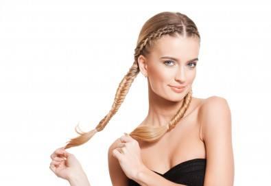 Терапия според типа коса - арганова, кератинова, хидратираща, за боядисана коса, оформяне на прическа със сешоар и бонус: плитка в салон за красота Хармония - Снимка